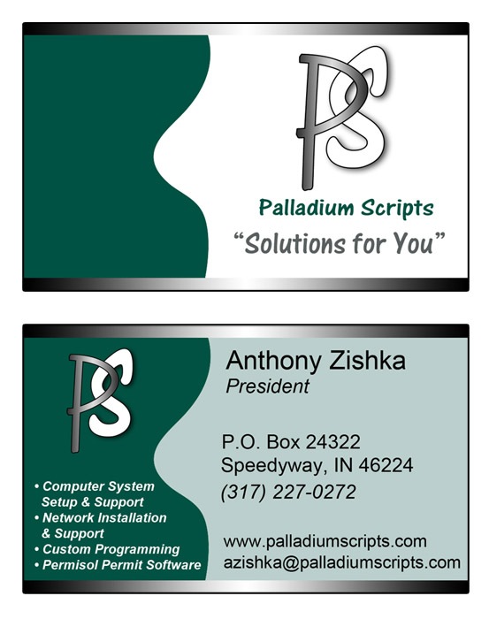 Palladium Scripts Business Card